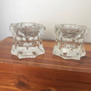 MIKASA (2) SPARKLING STAR CRYSTAL GLASS TEALIGHT